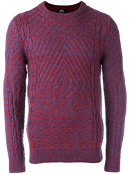 A.P.C. Contrast Knit Crew Neck Sweater Red