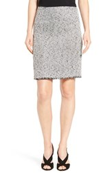 Halogenr Petite Women's Halogen Fringe Hem Tweed Pencil Skirt Ivory Black Twist Pattern