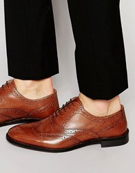 Asos Oxford Brogue Shoes In Tan Leather Tan