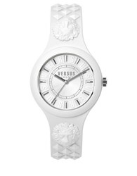 Versus By Versace Fire Island Silvertone White Silicone Strap Watch