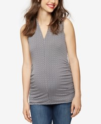 A Pea In The Pod Maternity Ruched Tank Top Black White Print