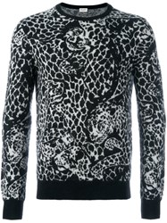Saint Laurent Leopard Print Sweater Black
