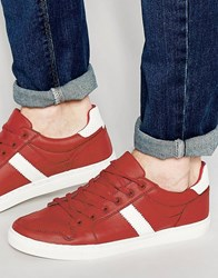 Asos Retro Trainers In Red Red
