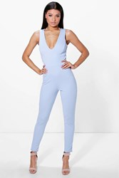 Boohoo Cross Back Skinny Leg Jumpsuit Sky