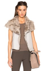 Rick Owens Shearling Sleeveless Classic Biker Vest In Gray