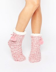 Loungeable Marl Knit Pom Trim Sock Pink