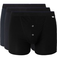 Schiesser Ludwig Three Pack Stretch Cotton Jersey Boxer Briefs Black