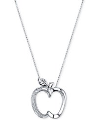 Disney Diamond Accent Apple Pendant Necklace In Sterling Silver