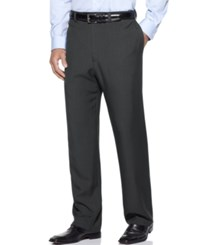Haggar Men's Big And Tall Stria Classic Fit Eclo Flat Front Dress Pants Med Grey