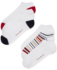 Tommy Bahama Solids And Stripes Socks 6 Pack White