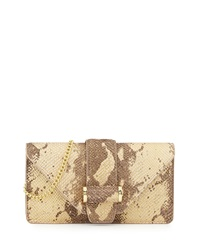 Ivanka Trump Snake Print Leather Clutch Bag Quartz