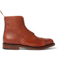 Grenson Pebble Grain Leather Boots Brown