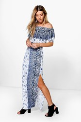 Boohoo Paisley Off The Shoulder And Maxi Skirt Co Ord Navy