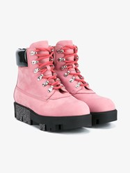 Acne Studios Telde Calfskin Hiking Boots Pink Black Silver