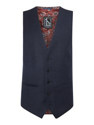 New And Lingwood Tutberry Flannel Suit Waistcoat Blue