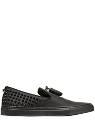 Giacomorelli Studded Matte Leather Slip On Sneakers Black