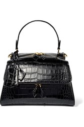 Victoria Beckham Croc Effect Leather Tote Black
