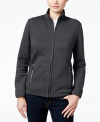 Karen Scott Petite Quilted Zip Front Jacket Only At Macy's Charcoal Heather