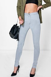 Boohoo High Waisted Knee Rip Jeans Grey