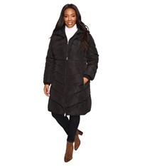 Jessica Simpson Plus Size Chevron Quilted Poly Down Coat With Hood Black Women's Coat