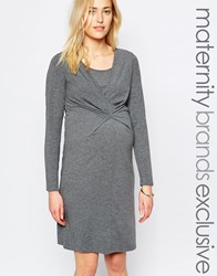 Mama Licious Mamalicious Long Sleeve Jersey Dress With Ruched Front Grey