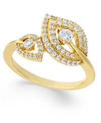 Macy's Diamond Double Leaf Ring 1 2 Ct. T.W. In 14K Gold Yellow Gold
