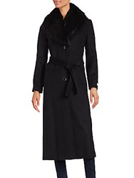 Calvin Klein Fur Collar Trench Coat Black