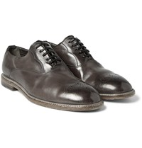 Dolce And Gabbana Perforated Burnished Leather Oxford Shoes Light Gray