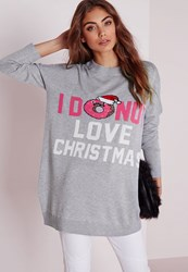 Missguided I Donut Like Christmas Knitted Dress Grey Grey