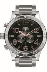 Nixon 'The 51 30 Chrono' Watch 51Mm Silver Rose Gold Black