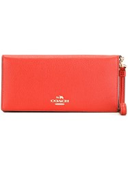 Coach Flap Rectangular Wallet Yellow And Orange