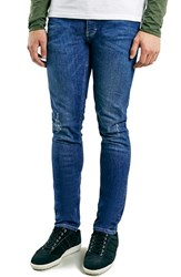 Men's Topman Ripped Spray On Skinny Fit Jeans Mid Blue