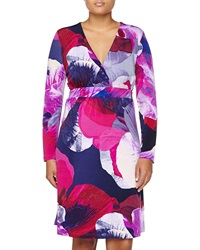 Melissa Masse Printed Long Sleeve Dress Fuchsia