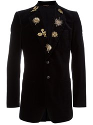 Roberto Cavalli Embroidered Lapels Blazer Blue