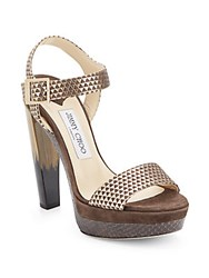 Jimmy Choo Textured Leather Platform Pumps Nude