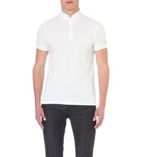 Tommy Hilfiger Mandarin Collar Cotton Pique Polo Shirt White