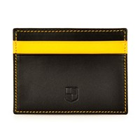 Huckle And Harper Black And Yellow Lambskin Card Holder Black Yellow Orange