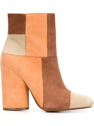 Derek Lam 10 Crosby Patchwork Block Heel Boots Brown