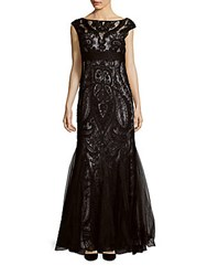 Teri Jon Cap Sleeve Lace Gown Black