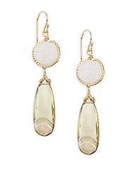 Eva Hanusova Muji Bio Topaz And White Agate Drop Earrings