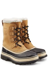 Sorel Caribou Suede And Rubber Short Boots Camel