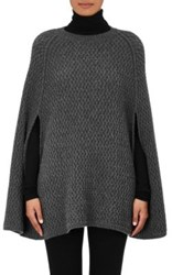 Barneys New York Women's Cashmere Poncho Sweater Dark Grey