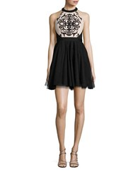 Blondie Nites Two Tone Sleeveless Backless Fit And Flare Dress Black Nude