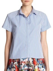 Alice Olivia Koi Oxford Button Down Shirt Blue White Stripe