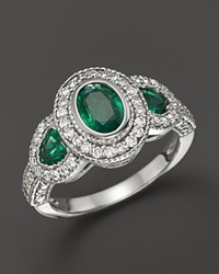 Bloomingdale's Emerald And Diamond 3 Stone Ring In 14K White Gold Multi