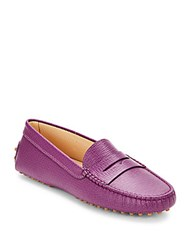 Tod's Leather Slip On Loafers Purple