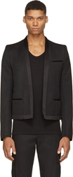 Balmain Black Wool Collarless Short Blazer