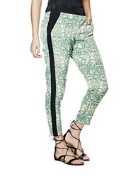 Guess Graphic Tuxedo Print Pants Green Multi