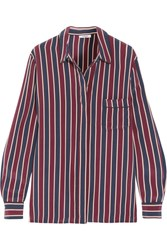 Ganni Striped Silk Crepe De Chine Shirt Claret