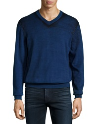 7 For All Mankind Printed V Neck Sweater Blue